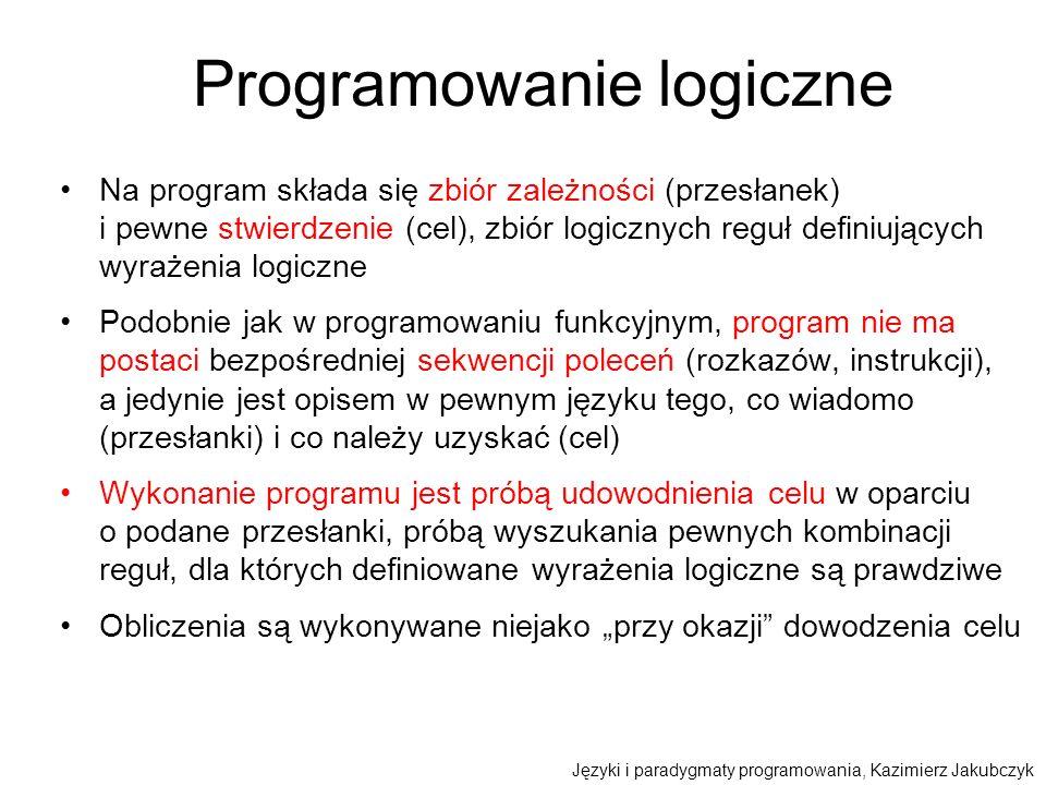 Programowanie logiczne Na program składa się zbiór zależności (przesłanek) i pewne stwierdzenie (cel), zbiór logicznych reguł definiujących wyrażenia