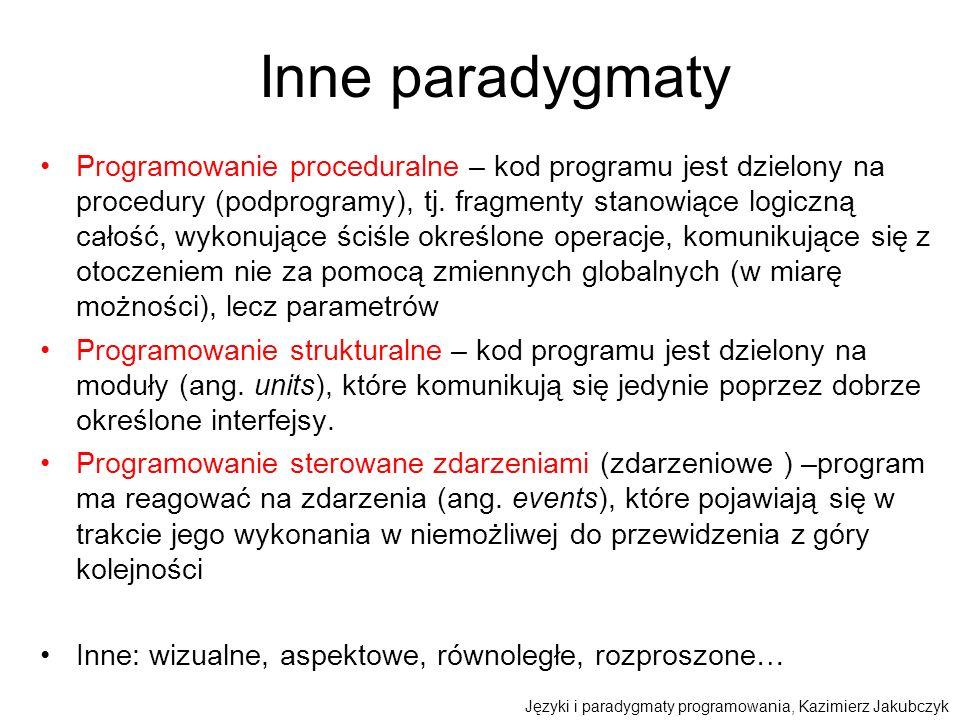 Inne paradygmaty Programowanie proceduralne – kod programu jest dzielony na procedury (podprogramy), tj. fragmenty stanowiące logiczną całość, wykonuj
