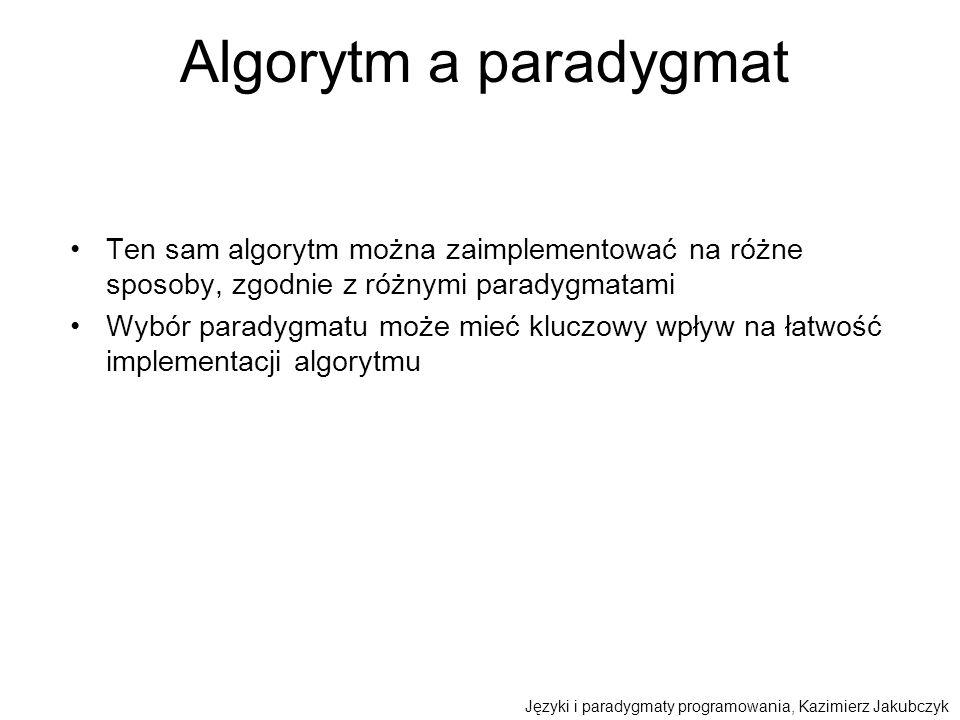 Algorytm a paradygmat Ten sam algorytm można zaimplementować na różne sposoby, zgodnie z różnymi paradygmatami Wybór paradygmatu może mieć kluczowy wp