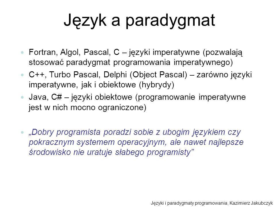 Język a paradygmat Fortran, Algol, Pascal, C – języki imperatywne (pozwalają stosować paradygmat programowania imperatywnego) C++, Turbo Pascal, Delph
