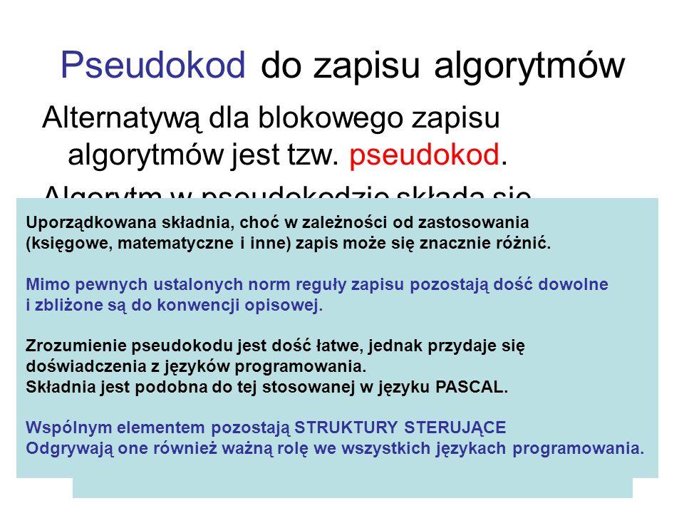Pseudokod do zapisu algorytmów Alternatywą dla blokowego zapisu algorytmów jest tzw. pseudokod. Algorytm w pseudokodzie składa się z uporządkowanych i