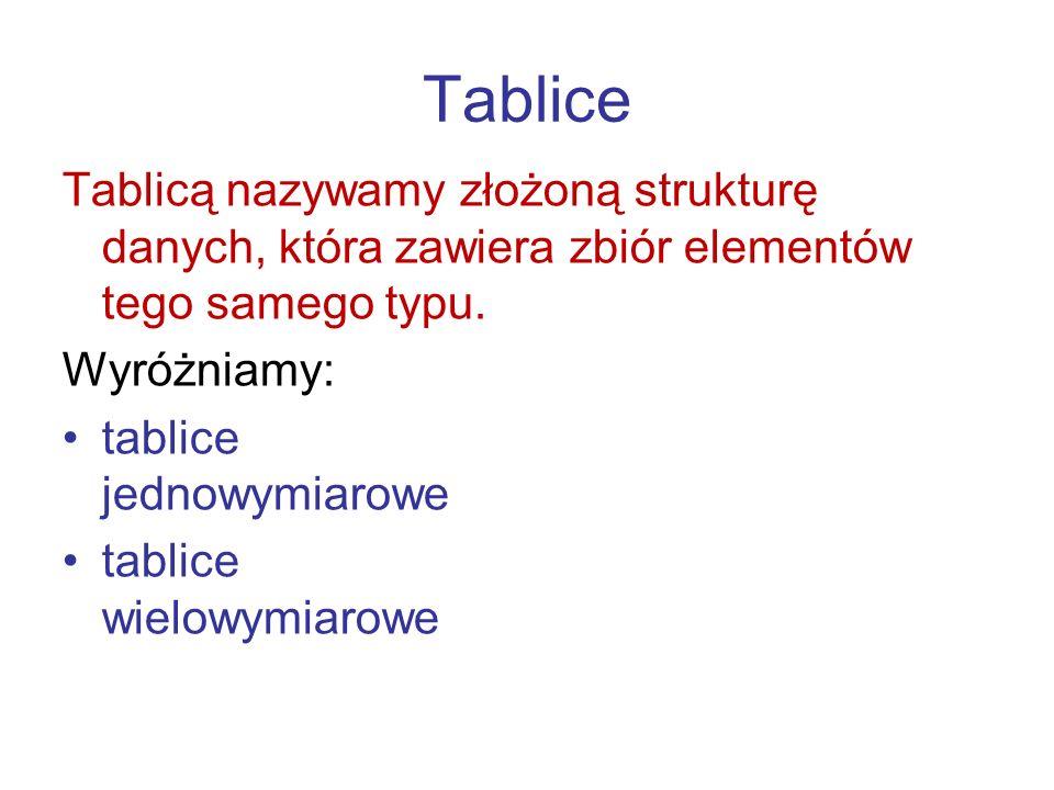 Tablice Tablicą nazywamy złożoną strukturę danych, która zawiera zbiór elementów tego samego typu. Wyróżniamy: tablice jednowymiarowe tablice wielowym