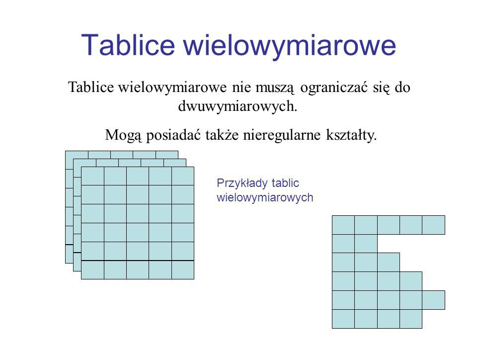 Tablice wielowymiarowe Tablice wielowymiarowe nie muszą ograniczać się do dwuwymiarowych. Mogą posiadać także nieregularne kształty. Przykłady tablic