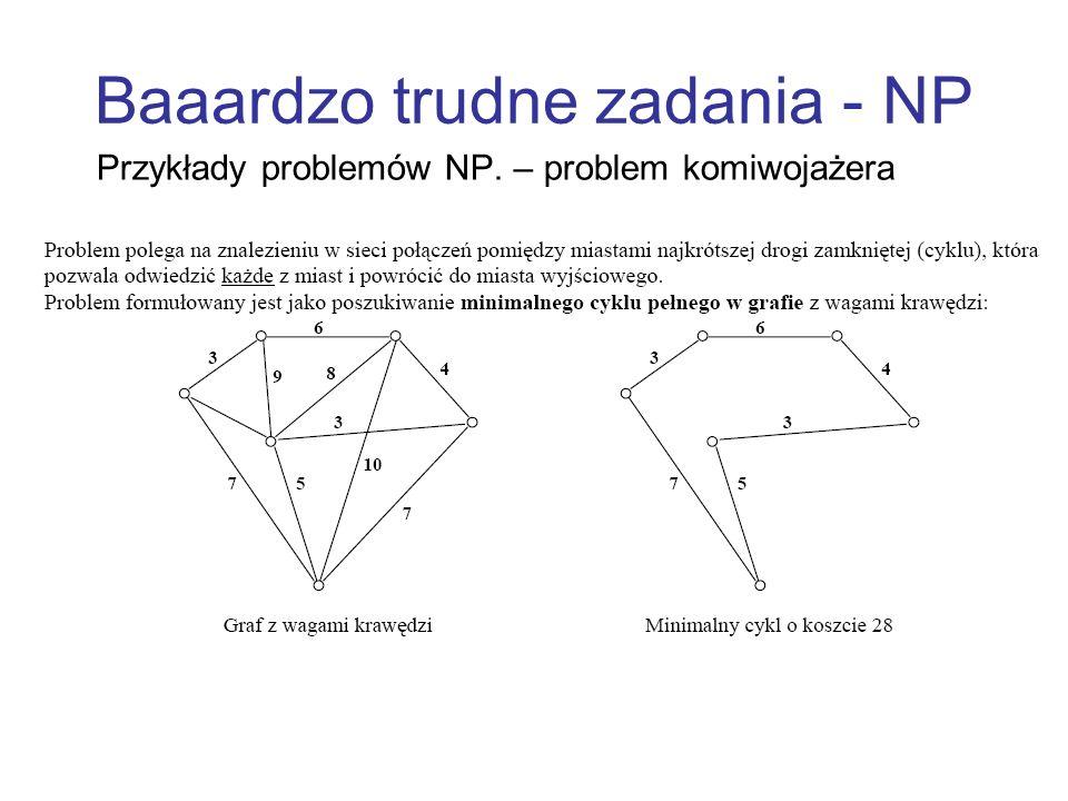Baaardzo trudne zadania - NP Przykłady problemów NP. – problem komiwojażera