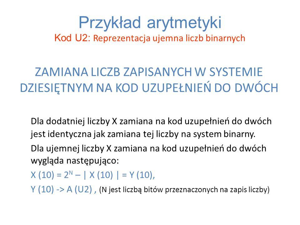 ZAMIANA LICZB ZAPISANYCH W SYSTEMIE DZIESIĘTNYM NA KOD UZUPEŁNIEŃ DO DWÓCH Dla dodatniej liczby X zamiana na kod uzupełnień do dwóch jest identyczna j
