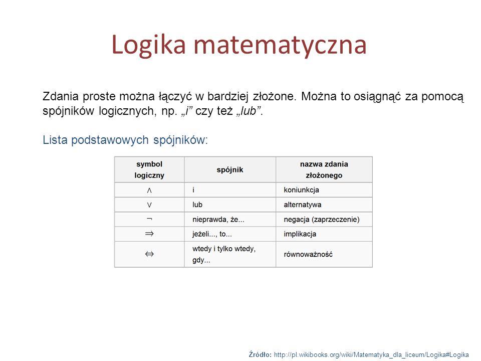 Logika matematyczna Zdania proste można łączyć w bardziej złożone. Można to osiągnąć za pomocą spójników logicznych, np. i czy też lub. Lista podstawo