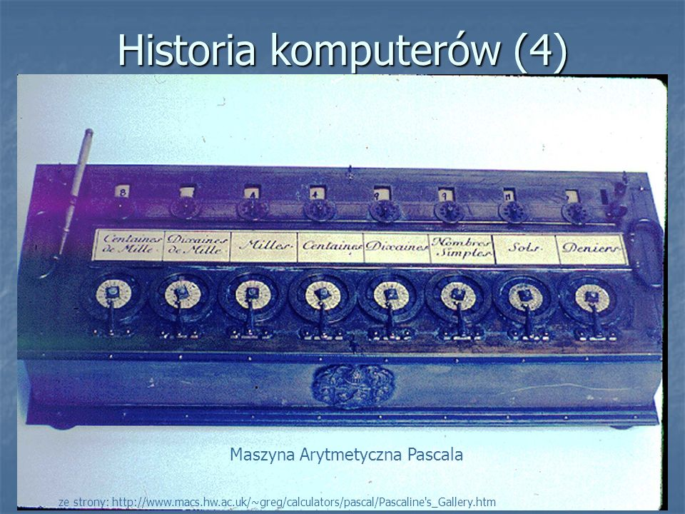 Historia komputerów (5) 1830 rok Maszyna Analityczna Charlesa Babbage a 1830 rok Maszyna Analityczna Charlesa Babbage a W roku 1822, Babbage zaproponował budowę maszyny zwanej Maszyną Różnicową, której zadaniem byłoby automatyczne obliczanie tablic matematycznych.