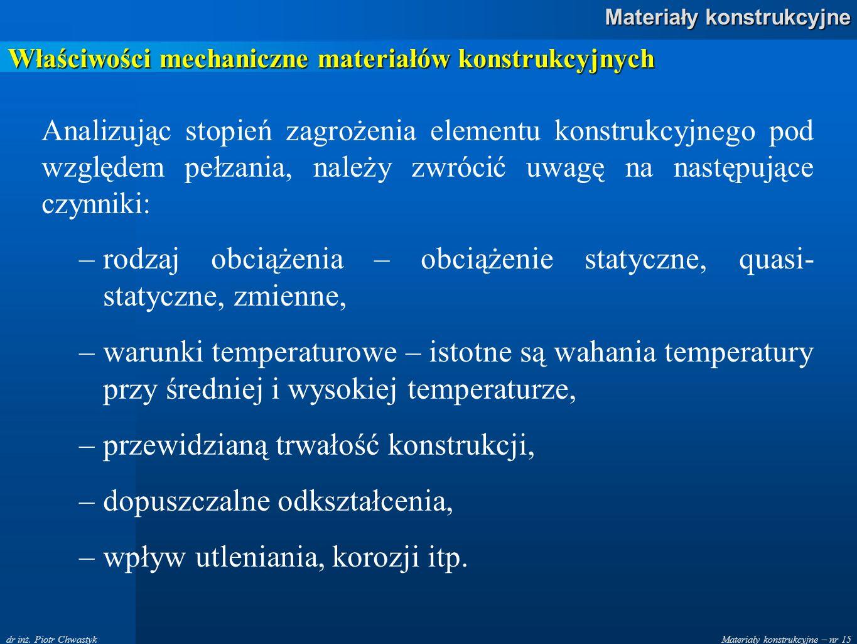 Materiały konstrukcyjne – nr 15 Materiały konstrukcyjne dr inż. Piotr Chwastyk Właściwości mechaniczne materiałów konstrukcyjnych Analizując stopień z