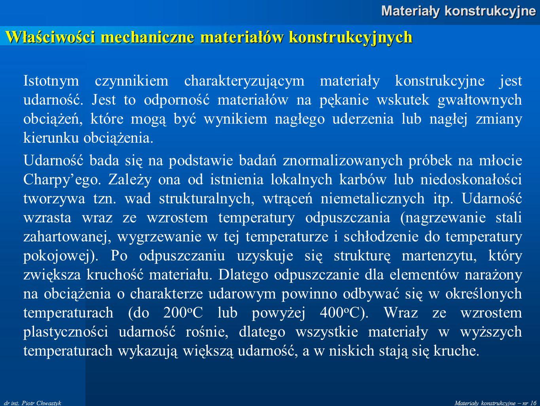 Materiały konstrukcyjne – nr 16 Materiały konstrukcyjne dr inż. Piotr Chwastyk Właściwości mechaniczne materiałów konstrukcyjnych Istotnym czynnikiem