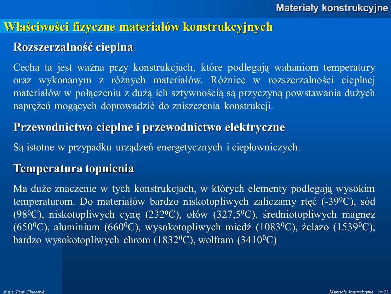 Materiały konstrukcyjne – nr 22 Materiały konstrukcyjne dr inż. Piotr Chwastyk Właściwości fizyczne materiałów konstrukcyjnych Rozszerzalność cieplna