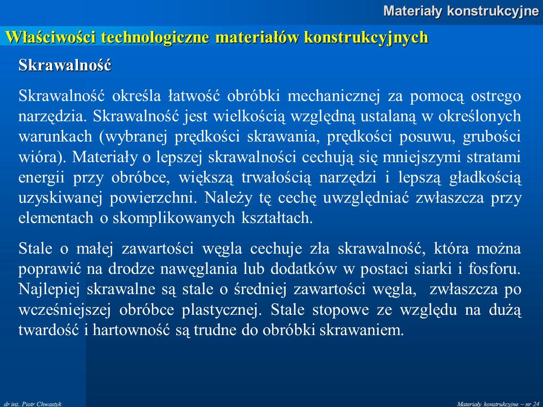 Materiały konstrukcyjne – nr 24 Materiały konstrukcyjne dr inż. Piotr Chwastyk Właściwości technologiczne materiałów konstrukcyjnych Skrawalność Skraw
