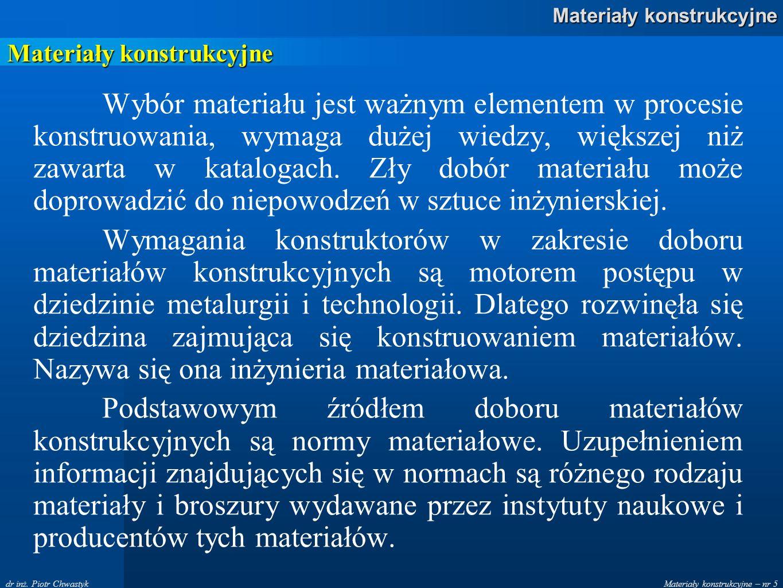 Materiały konstrukcyjne – nr 5 Materiały konstrukcyjne dr inż. Piotr Chwastyk Materiały konstrukcyjne Wybór materiału jest ważnym elementem w procesie