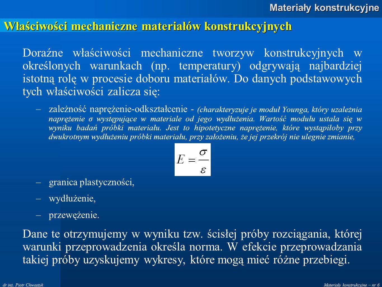 Materiały konstrukcyjne – nr 6 Materiały konstrukcyjne dr inż. Piotr Chwastyk Właściwości mechaniczne materiałów konstrukcyjnych Doraźne właściwości m