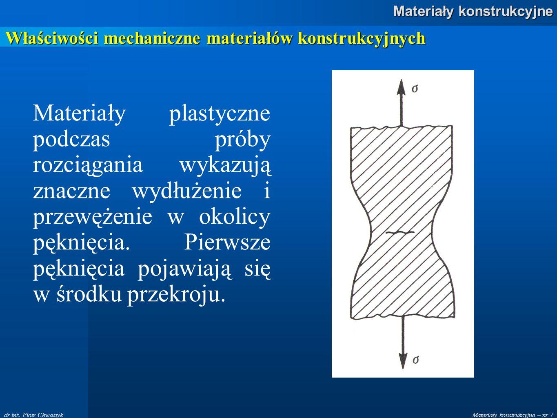 Materiały konstrukcyjne – nr 7 Materiały konstrukcyjne dr inż. Piotr Chwastyk Właściwości mechaniczne materiałów konstrukcyjnych Materiały plastyczne