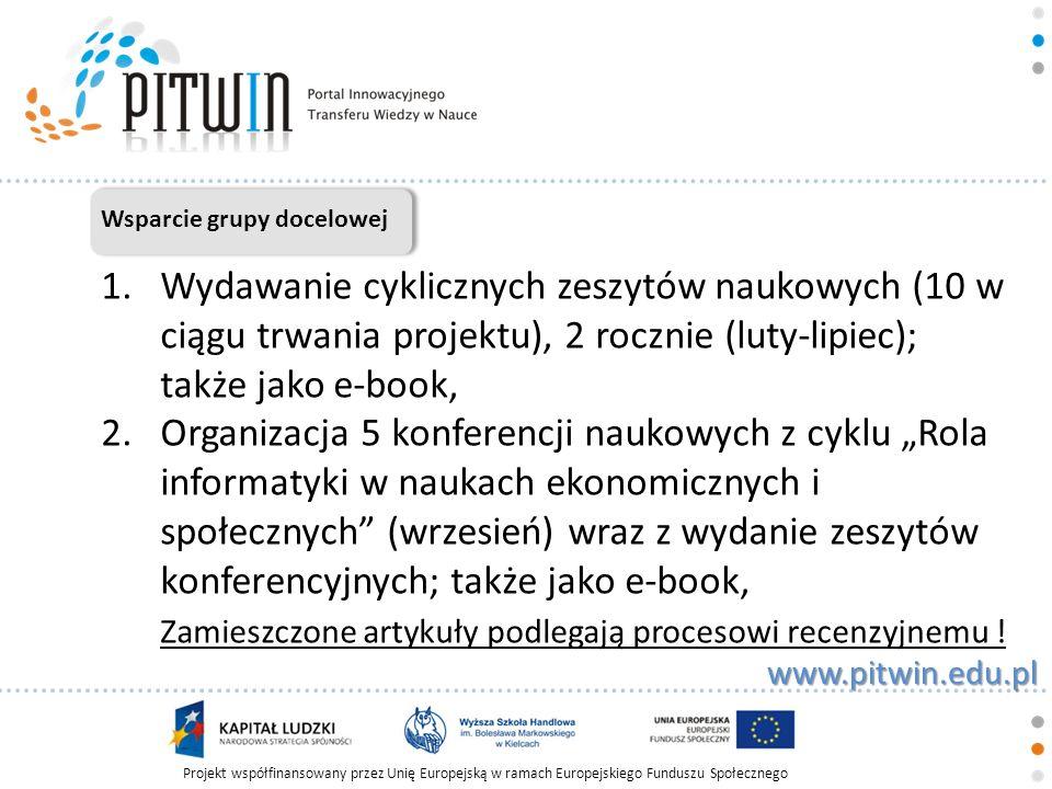 Projekt współfinansowany przez Unię Europejską w ramach Europejskiego Funduszu Społecznego www.pitwin.edu.pl Wsparcie grupy docelowej 3.Wydanie 2 publikacji poświęconych najlepszym projektom badawczym realizowanym przez młodych naukowców – celem podsumowania i wyróżnienia najlepszych osiągnięć naukowych młodych naukowców w Polsce, 4.Publikacja artykułów naukowych na łamach portalu w wersji elektronicznej,