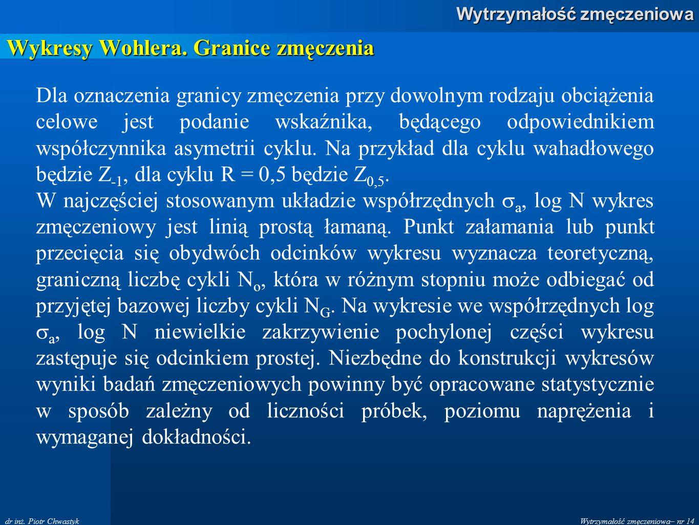 Wytrzymałość zmęczeniowa– nr 14 Wytrzymałość zmęczeniowa dr inż. Piotr Chwastyk Wykresy Wohlera. Granice zmęczenia Dla oznaczenia granicy zmęczenia pr
