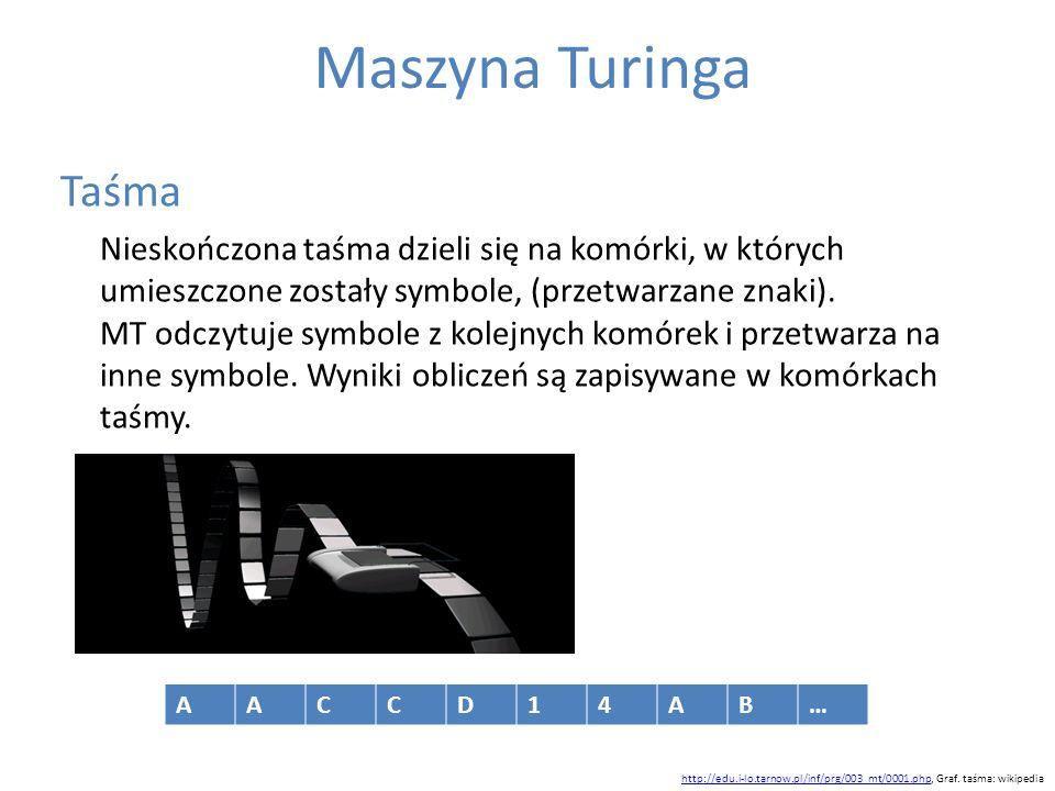 Maszyna Turinga Taśma Nieskończona taśma dzieli się na komórki, w których umieszczone zostały symbole, (przetwarzane znaki). MT odczytuje symbole z ko