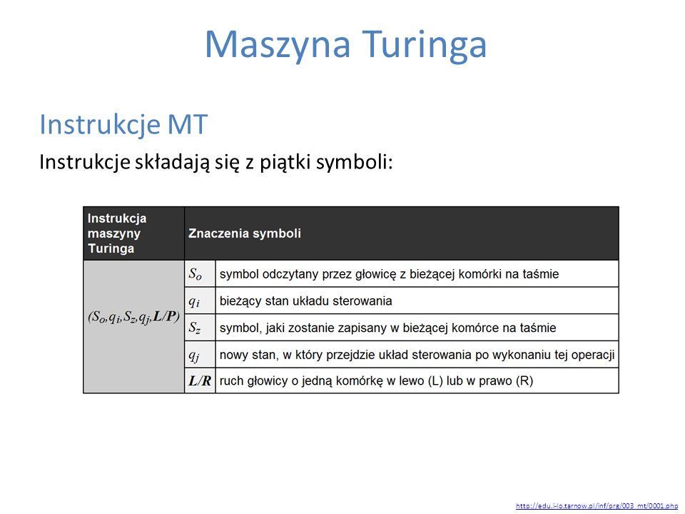 Maszyna Turinga Instrukcje MT Instrukcje składają się z piątki symboli: http://edu.i-lo.tarnow.pl/inf/prg/003_mt/0001.php