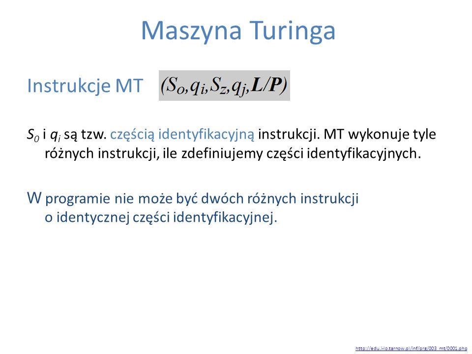 Maszyna Turinga Instrukcje MT S 0 i q i są tzw. częścią identyfikacyjną instrukcji. MT wykonuje tyle różnych instrukcji, ile zdefiniujemy części ident