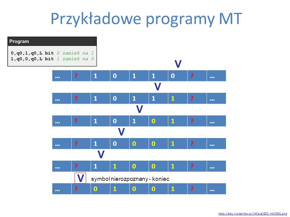 Przykładowe programy MT http://edu.i-lo.tarnow.pl/inf/prg/003_mt/0001.php …?10110?… …?10111?… …?10101?… …?10001?… …?11001?… …?01001?… symbol nierozpoz