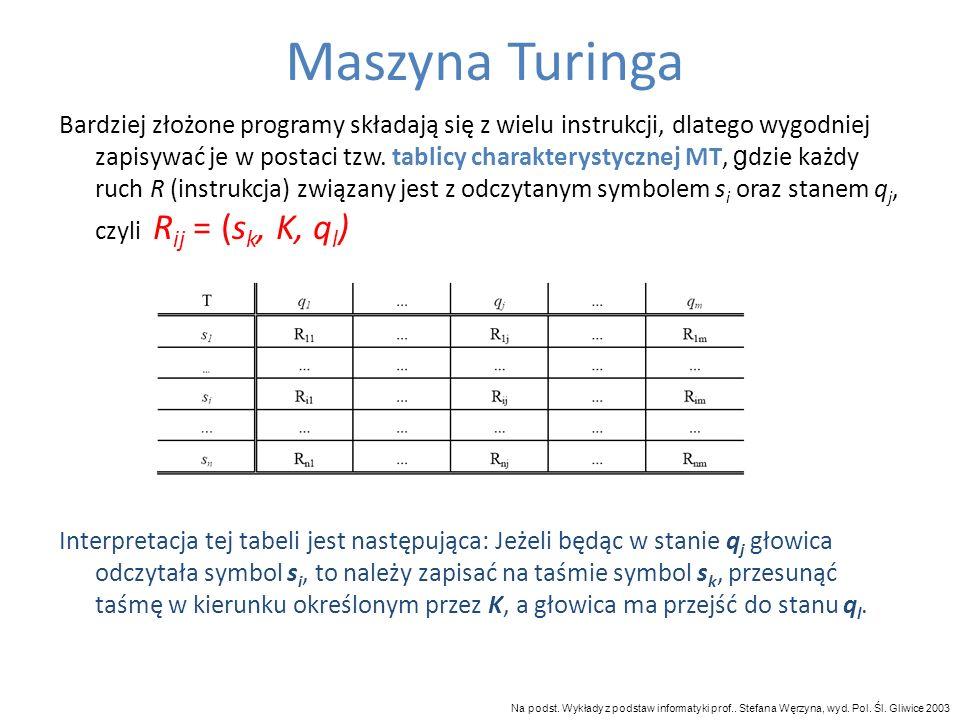 Bardziej złożone programy składają się z wielu instrukcji, dlatego wygodniej zapisywać je w postaci tzw. tablicy charakterystycznej MT, g dzie każdy r