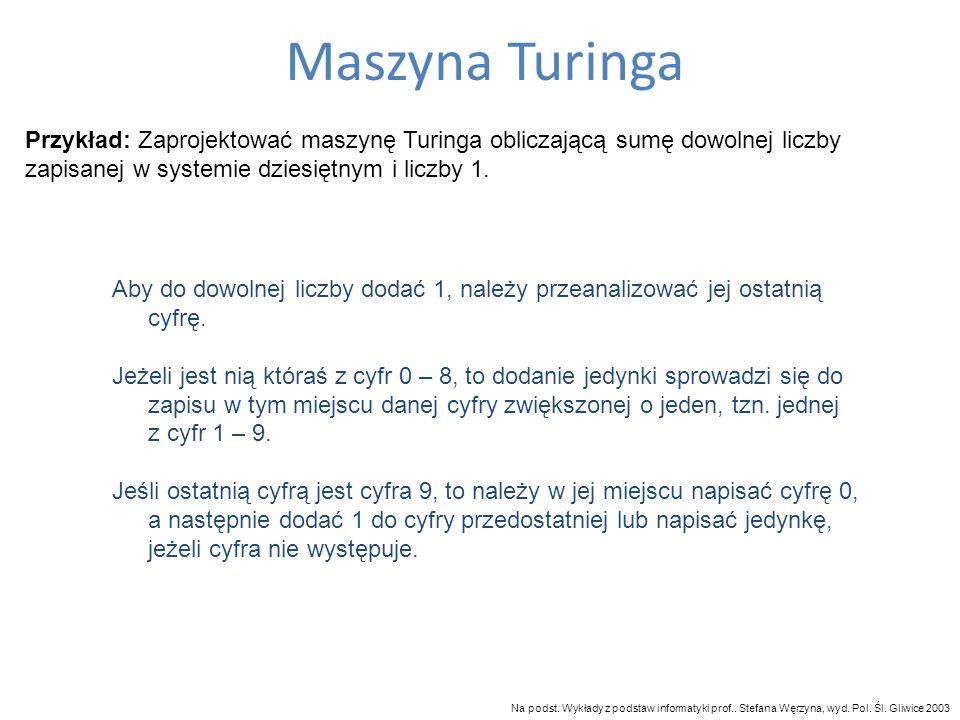 Maszyna Turinga Przykład: Zaprojektować maszynę Turinga obliczającą sumę dowolnej liczby zapisanej w systemie dziesiętnym i liczby 1. Aby do dowolnej