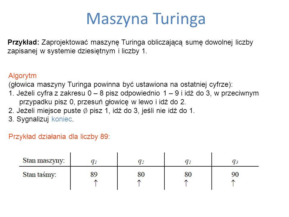 Maszyna Turinga Przykład: Zaprojektować maszynę Turinga obliczającą sumę dowolnej liczby zapisanej w systemie dziesiętnym i liczby 1. Algorytm (głowic