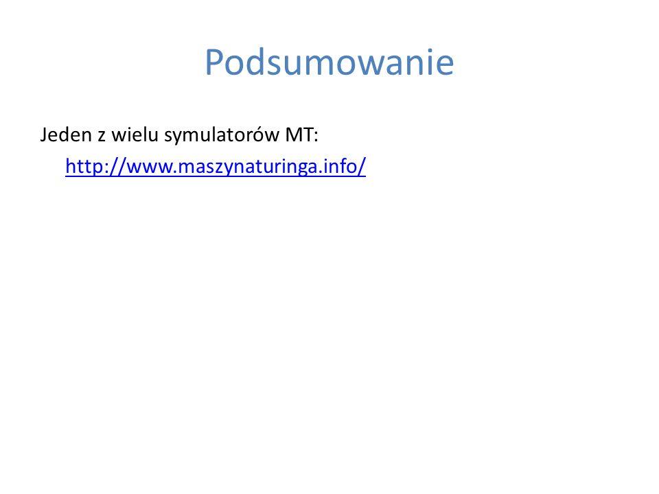 Podsumowanie Jeden z wielu symulatorów MT: http://www.maszynaturinga.info/