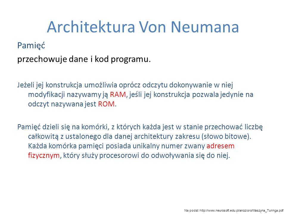 Architektura Von Neumana Pamięć przechowuje dane i kod programu. Jeżeli jej konstrukcja umożliwia oprócz odczytu dokonywanie w niej modyfikacji nazywa
