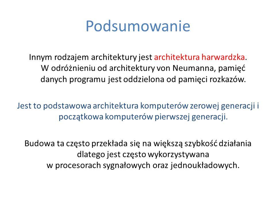 Podsumowanie Innym rodzajem architektury jest architektura harwardzka. W odróżnieniu od architektury von Neumanna, pamięć danych programu jest oddziel