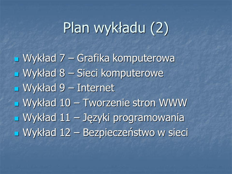 Plan wykładu (3) Wykład 13 – Niektóre kierunki rozwoju informatyki Wykład 13 – Niektóre kierunki rozwoju informatyki Wykład 14 – Sprawdzian wykładowy Wykład 14 – Sprawdzian wykładowy