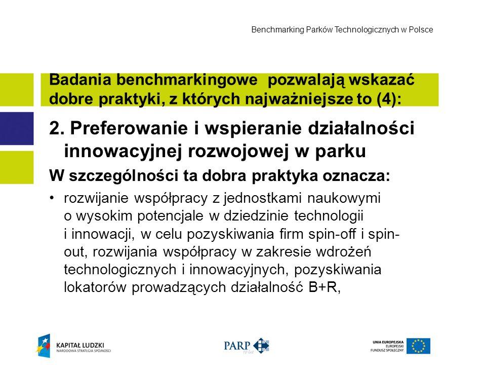 2. Preferowanie i wspieranie działalności innowacyjnej rozwojowej w parku W szczególności ta dobra praktyka oznacza: rozwijanie współpracy z jednostka