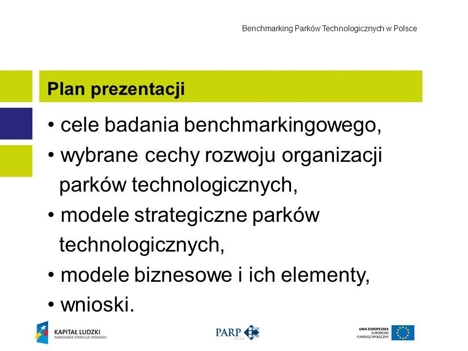 cele badania benchmarkingowego, wybrane cechy rozwoju organizacji parków technologicznych, modele strategiczne parków technologicznych, modele bizneso
