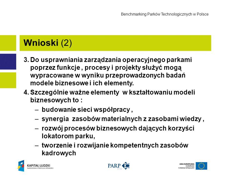 3.Do usprawniania zarządzania operacyjnego parkami poprzez funkcje, procesy i projekty służyć mogą wypracowane w wyniku przeprowadzonych badań modele