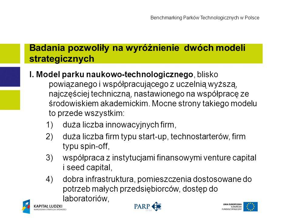 4.Zbudowanie i aplikacja całościowo rozumianego modelu biznesowego opartego na: nowoczesnych zasobach materialnych (lokalizacja, nowoczesna infrastruktura), kompetencjach pracowników, kapitale intelektualnym strategicznego partnera i specjalizacji, Badania benchmarkingowe pozwalają wskazać dobre praktyki, z których najważniejsze to (8) Benchmarking Parków Technologicznych w Polsce