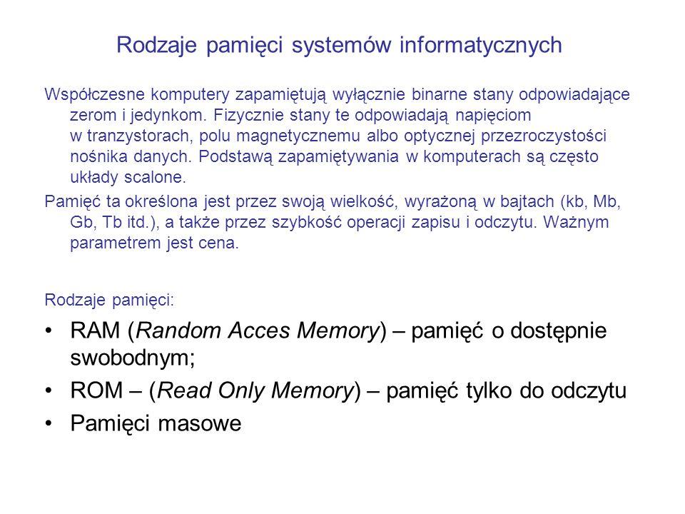 Współczesne komputery zapamiętują wyłącznie binarne stany odpowiadające zerom i jedynkom. Fizycznie stany te odpowiadają napięciom w tranzystorach, po