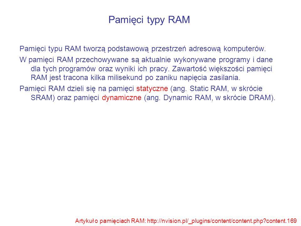 Pamięci typu RAM tworzą podstawową przestrzeń adresową komputerów. W pamięci RAM przechowywane są aktualnie wykonywane programy i dane dla tych progra