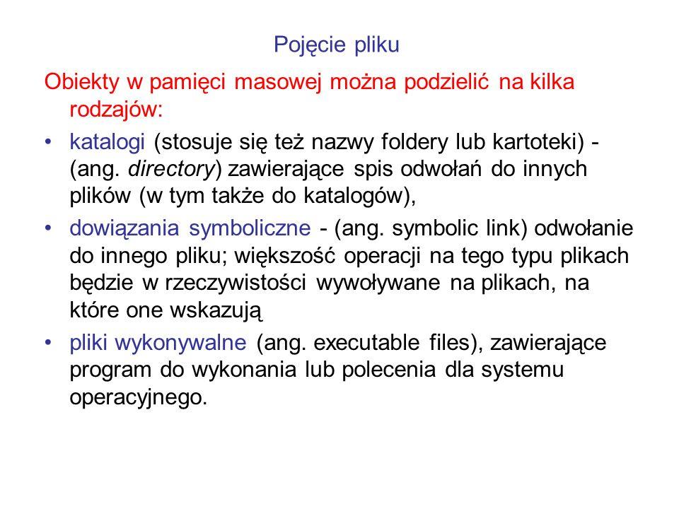 Obiekty w pamięci masowej można podzielić na kilka rodzajów: katalogi (stosuje się też nazwy foldery lub kartoteki) - (ang. directory) zawierające spi