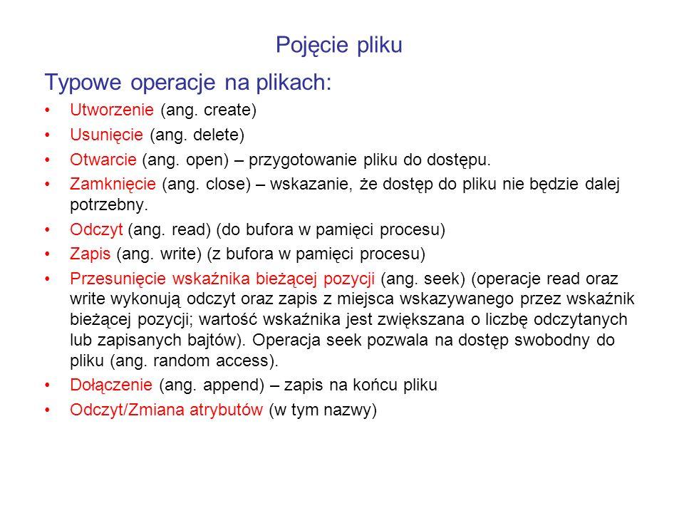 Typowe operacje na plikach: Utworzenie (ang. create) Usunięcie (ang. delete) Otwarcie (ang. open) – przygotowanie pliku do dostępu. Zamknięcie (ang. c