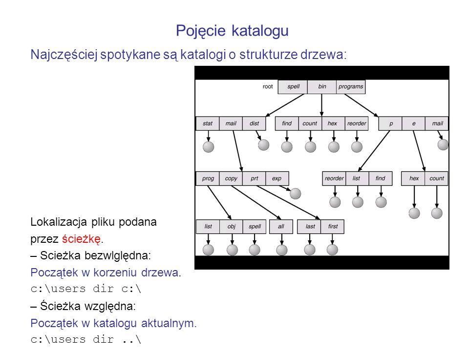 Najczęściej spotykane są katalogi o strukturze drzewa: Lokalizacja pliku podana przez ścieżkę. – Scieżka bezwlględna: Początek w korzeniu drzewa. c:\u