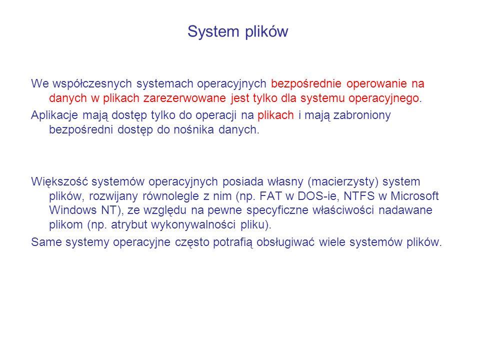 We współczesnych systemach operacyjnych bezpośrednie operowanie na danych w plikach zarezerwowane jest tylko dla systemu operacyjnego. Aplikacje mają