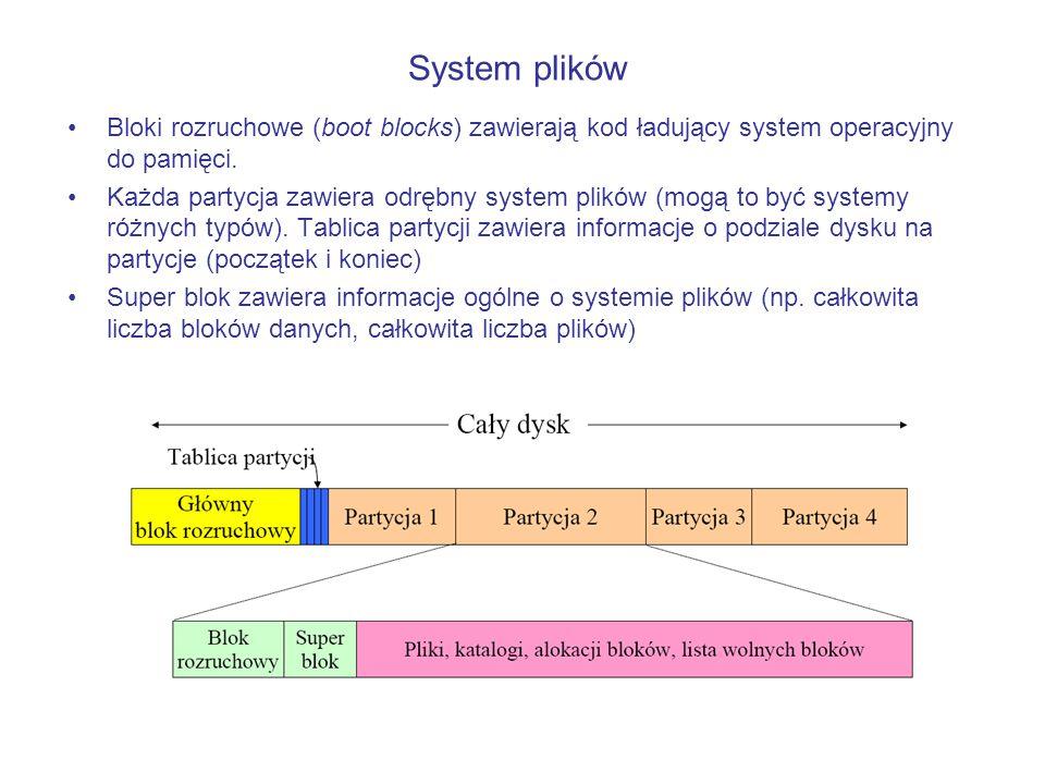 Bloki rozruchowe (boot blocks) zawierają kod ładujący system operacyjny do pamięci. Każda partycja zawiera odrębny system plików (mogą to być systemy