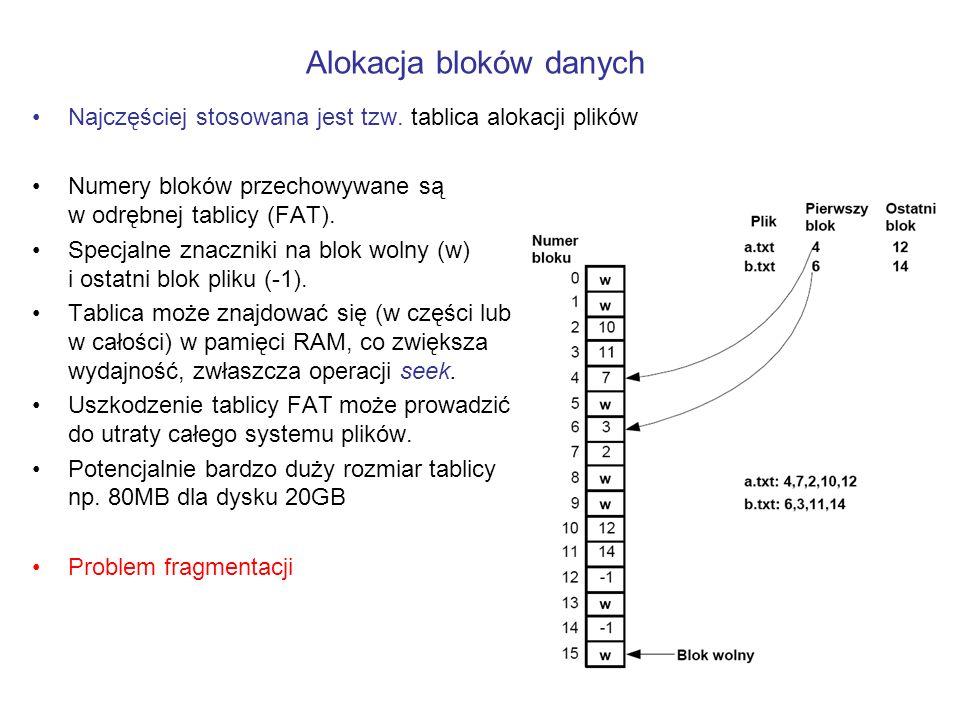 Najczęściej stosowana jest tzw. tablica alokacji plików Numery bloków przechowywane są w odrębnej tablicy (FAT). Specjalne znaczniki na blok wolny (w)