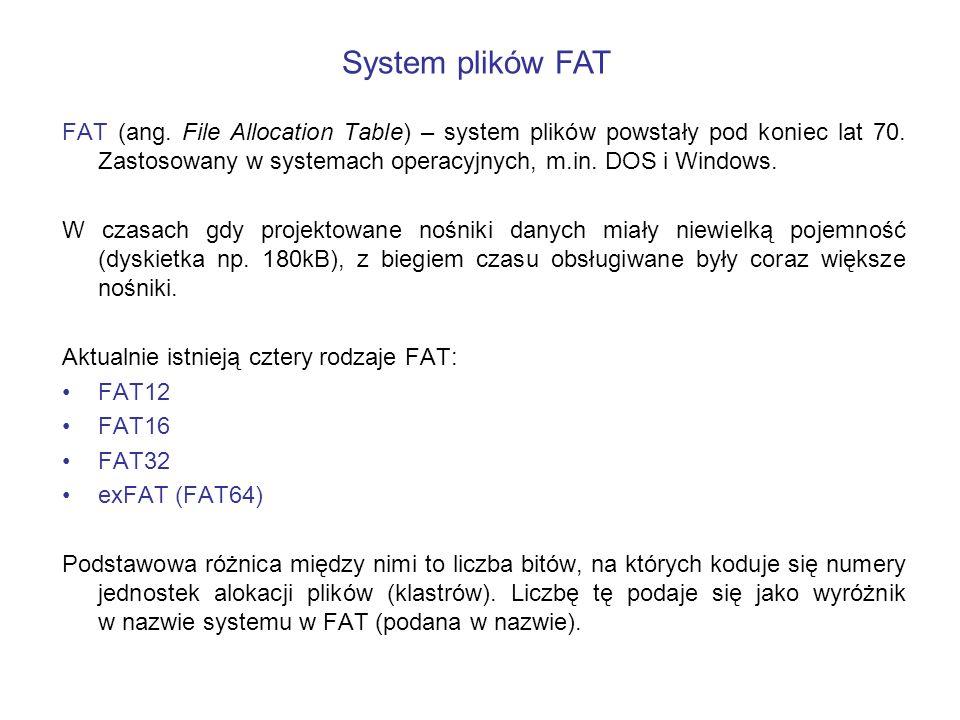 FAT (ang. File Allocation Table) – system plików powstały pod koniec lat 70. Zastosowany w systemach operacyjnych, m.in. DOS i Windows. W czasach gdy