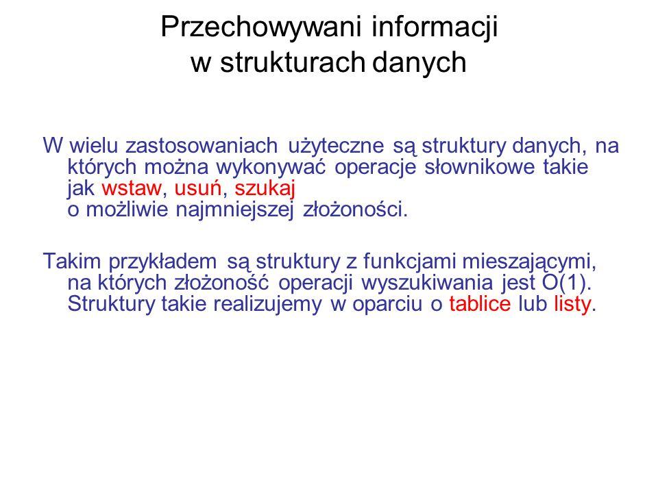Przechowywani informacji w strukturach danych W wielu zastosowaniach użyteczne są struktury danych, na których można wykonywać operacje słownikowe tak