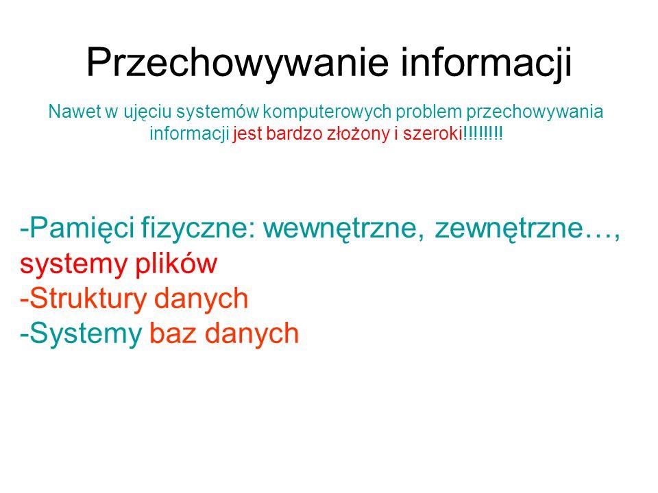 Przechowywani informacji w strukturach danych Omawialiśmy proste operacje wyszukiwania w tablicach (np.