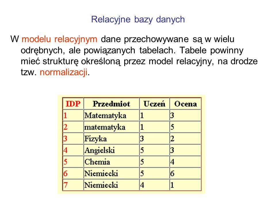 W modelu relacyjnym dane przechowywane są w wielu odrębnych, ale powiązanych tabelach. Tabele powinny mieć strukturę określoną przez model relacyjny,