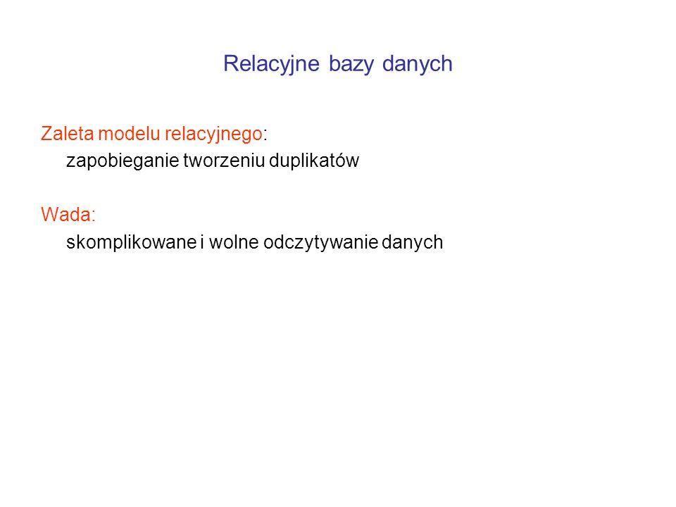 Zaleta modelu relacyjnego: zapobieganie tworzeniu duplikatów Wada: skomplikowane i wolne odczytywanie danych
