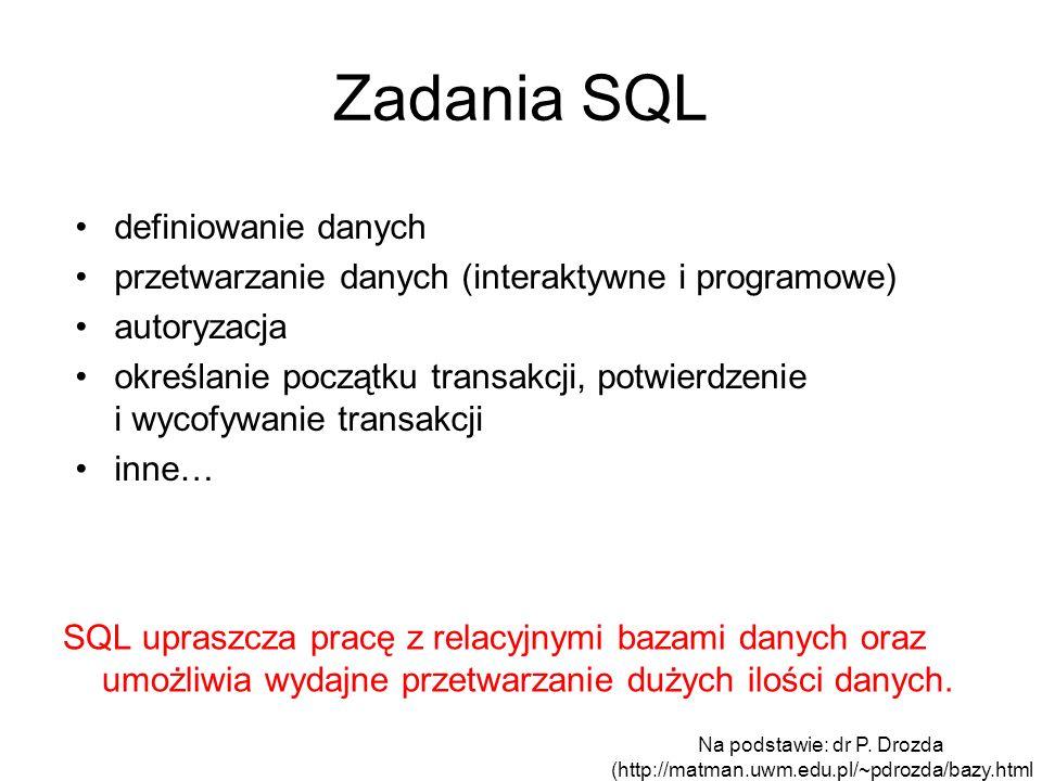 Zadania SQL definiowanie danych przetwarzanie danych (interaktywne i programowe) autoryzacja określanie początku transakcji, potwierdzenie i wycofywan