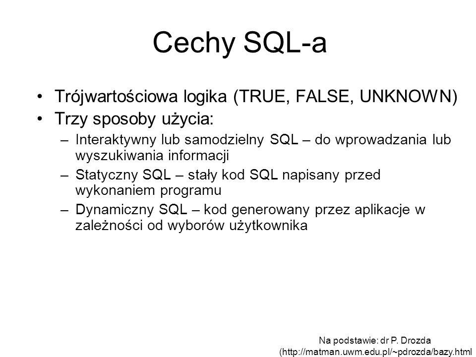 Cechy SQL-a Trójwartościowa logika (TRUE, FALSE, UNKNOWN) Trzy sposoby użycia: –Interaktywny lub samodzielny SQL – do wprowadzania lub wyszukiwania in